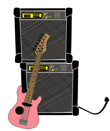 Pink Electric Guitar and Amp