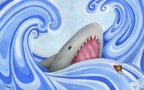 The Shark Chases Pinocchio, by Chiara Civat for Storynory