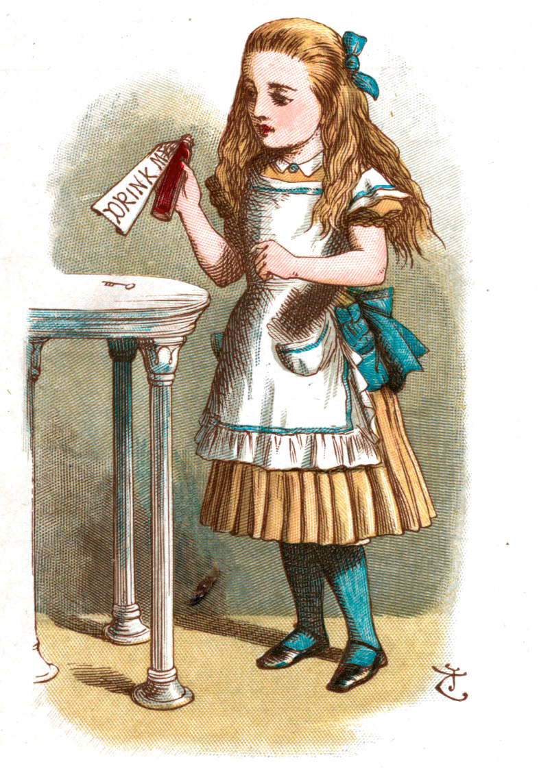Alice looks behind curtain drink me alice by tenniel