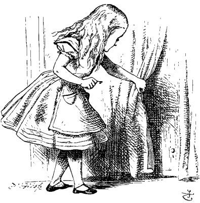 Alice looks behind curtain