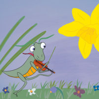 Grasshopper plays music on fiddle