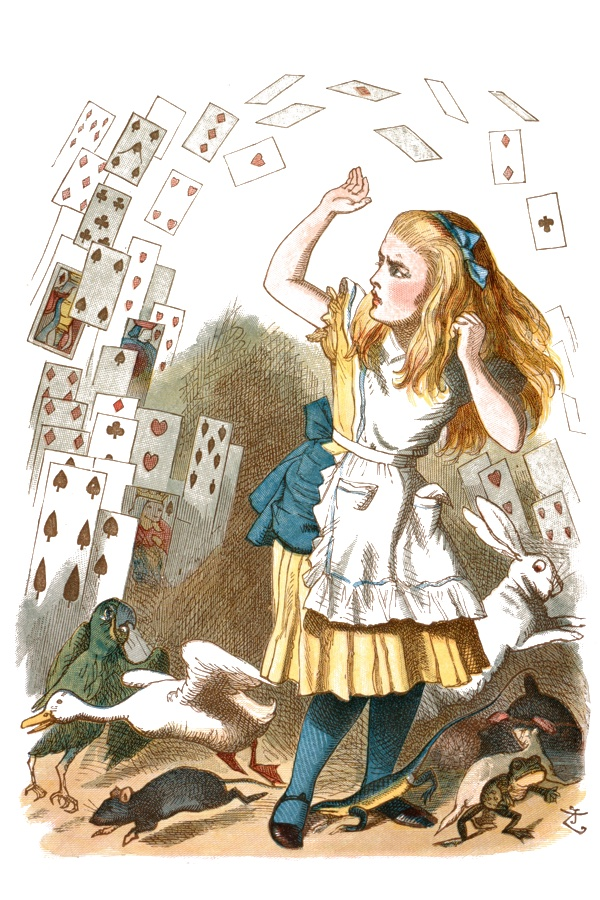 Alice Overturns pack of cards