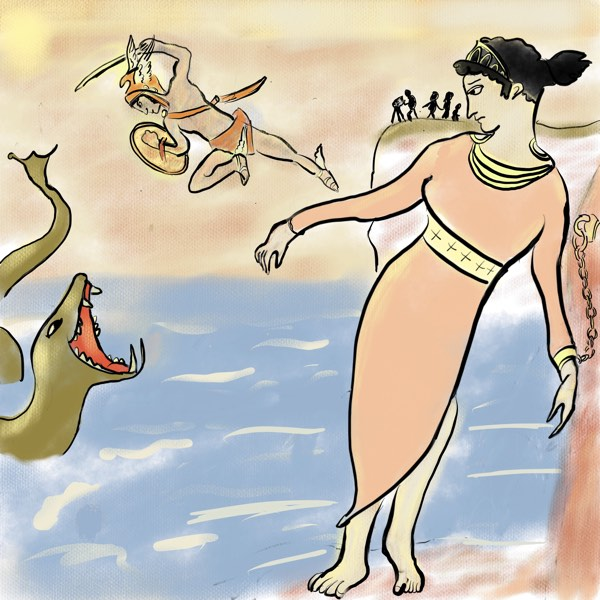 Andromeda, Perseus and Sea Monster by Bertie of Storynory