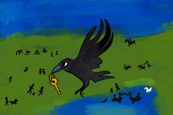 Crow flies over park