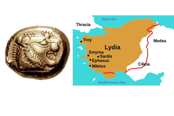 Ancient Lydia lion coin and map