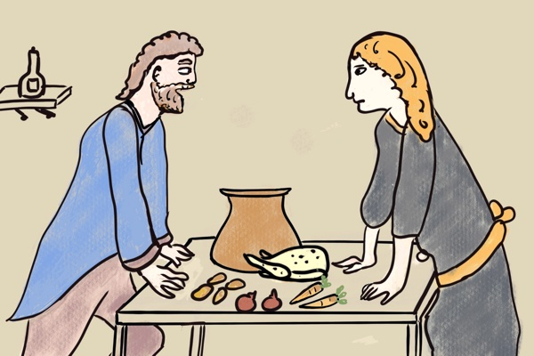 Sibby and Tramp from Pot of Broth by WB Yeats look at each other over kitchen table by Bertie of Storynory