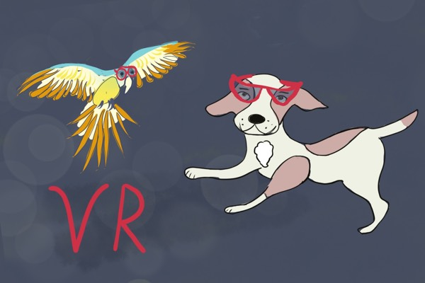 Astropup and the Parrot with VR Glasses