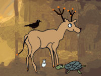 Crow, dear, mouse, and tortoise in Indian forest - four friends.
