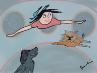 girl, dog, cat floating in gravity free space ship