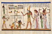 Egyptian Anubis (with dog head) weighing heart of dead Osiris and Isis look on