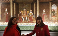 Jana and Sheila with Henry VIII in Haunted Gallery at Hampton Court
