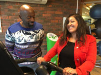 Jana on fitness bike at Colets Thames Ditton near London