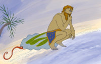 Gilgamesh sits by sea and contemplates while snake sneaks up to steal plant of everlasting youth. Illustration by Bertie