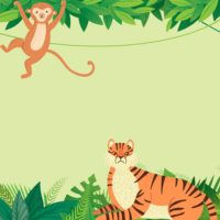 Monkey and Tiger in Jungle